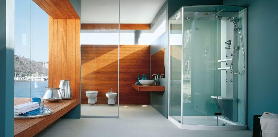 un baño minimalista no sólo tiene que ser monocolor, también se pueden combinar dos colores