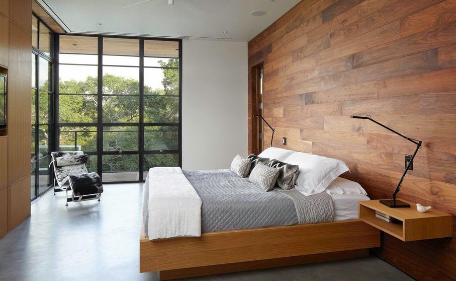 para que el dormitorio sea minimalista recuerda, sin cortinas o cortinas lisas monocolor